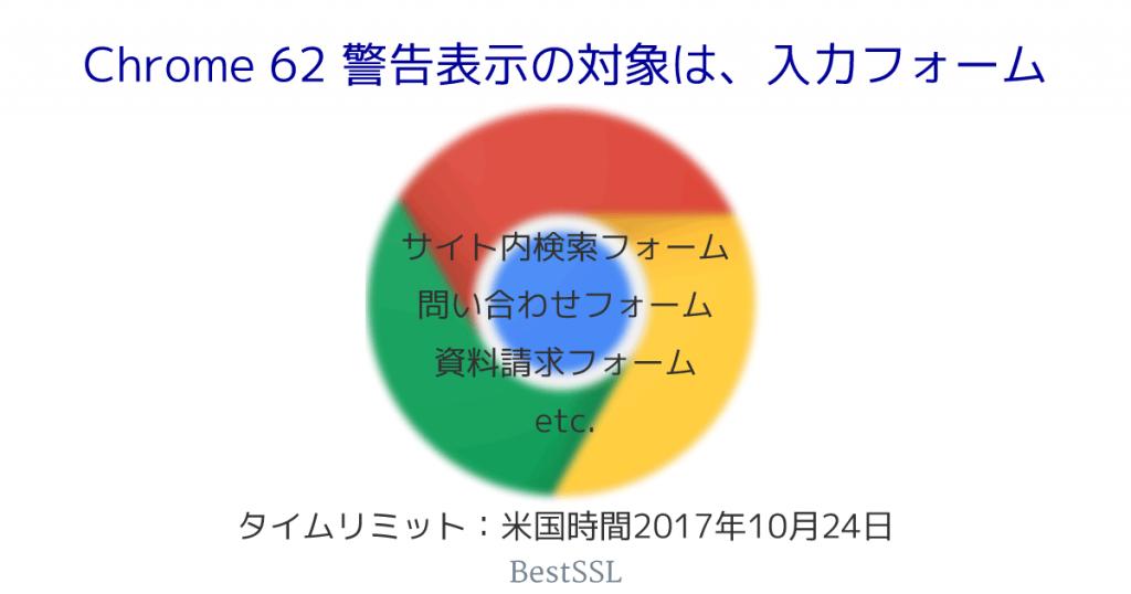 Google Chrome 62、HTTPサイトにデータ入力しようとすると「保護されていません」と警告表示