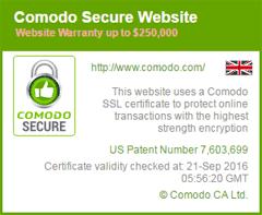 Comodo トラストロゴ ドメイン認証 マウスオーバー