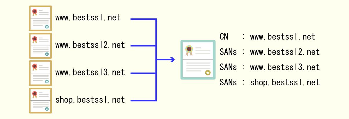 マルチドメイン証明書のライセンス体系説明図